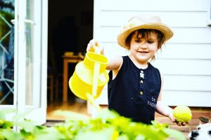 Child Watering Can Yellow Pouring Garden